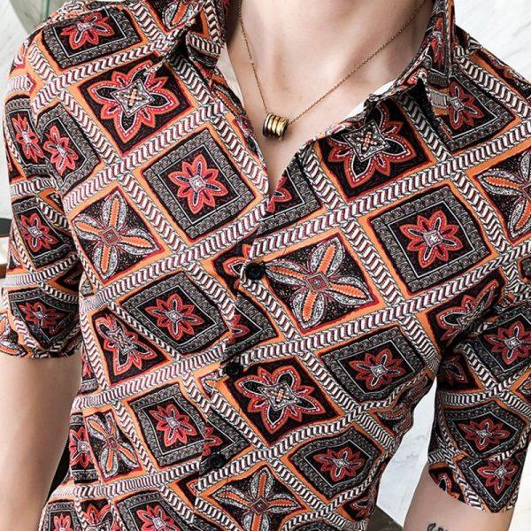 Luxury Grid Print Slim Fit Shirts