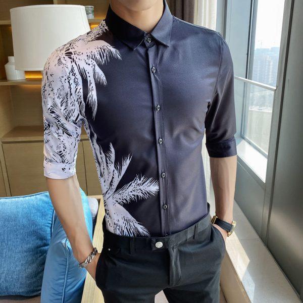 Fashion Black Coconut Print Shirt