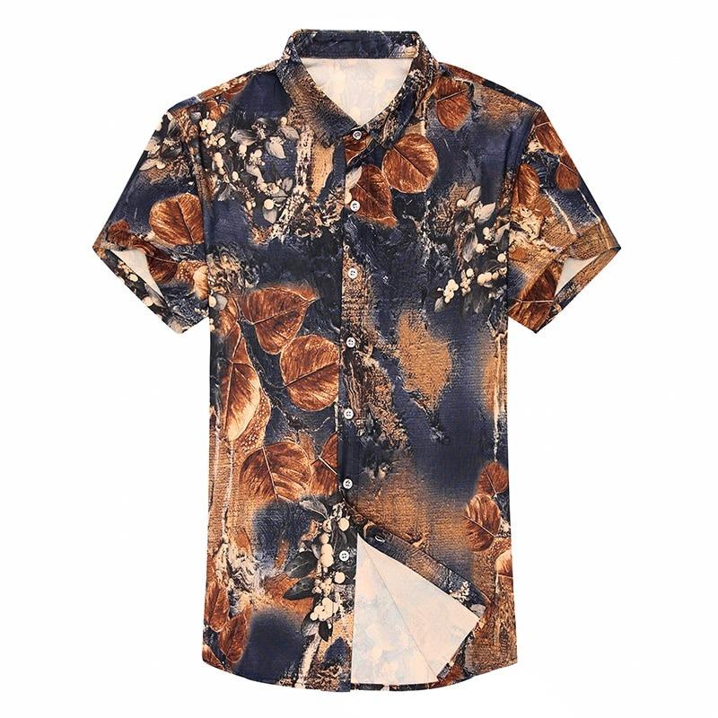 Hawaiian Print Casual Silk Shirts