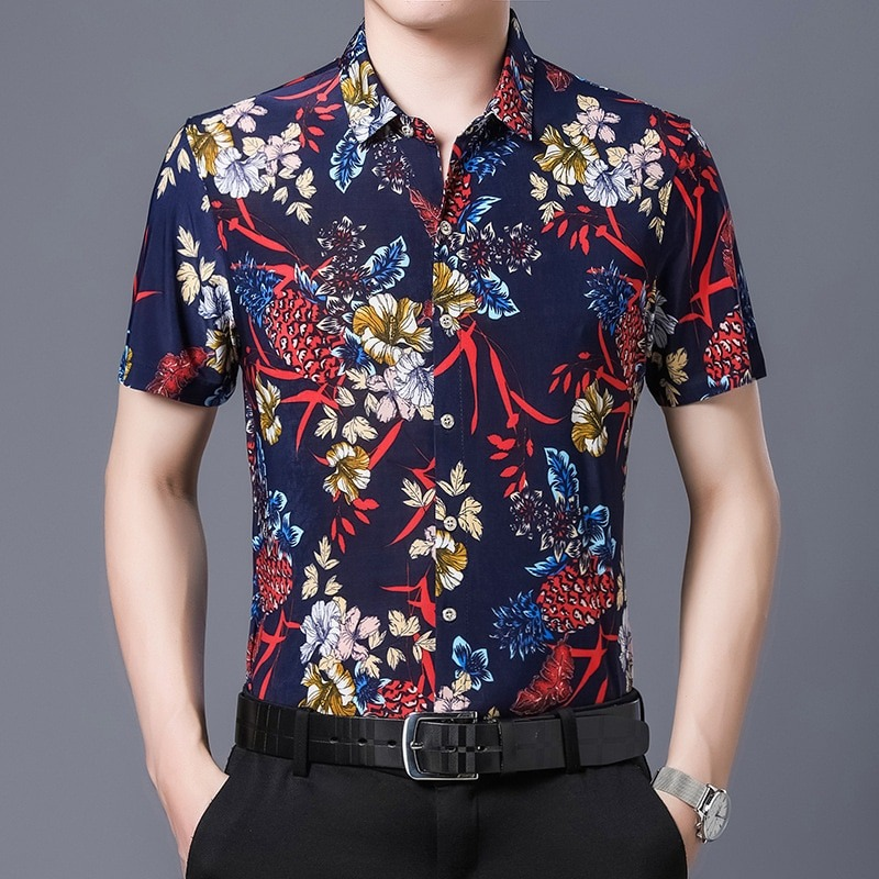 Hawaiian Style Casual Silk Shirt