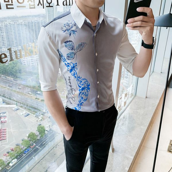 Korean Casual Men Dress Shirts