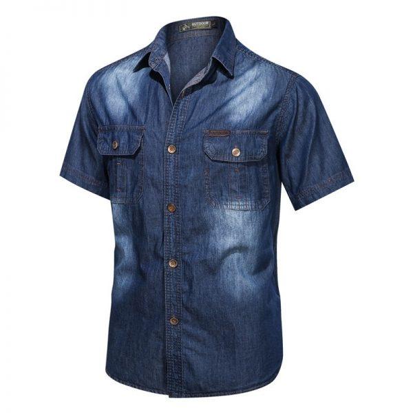 Men Denim Shirts Elastic Jeans