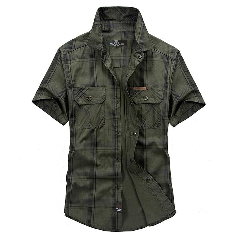 Summer Casual Army Plaid Shirt